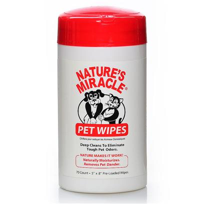 Nature's Miracle Presents Pet Wipes 70pc 70. Deep Cleans to Eliminate Tough Pet Odors and Remove Pet Dander while Naturally Moisturizing Pet's Coat and Paws. [21373]