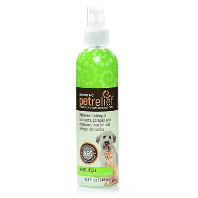 Sergeants Presents Petrelief Hc Anti-Itch 8.4oz. Petrelief Anti-Itch Spray for Dogs and Cats was Clinically Developed and Tested by a Veterinary Dermatologist for Aiding the Soothing, Drying and Healing of Moist 'Hot Spots'. It also Relieves Itching and Helps Control the Spread of Lesions. Petrelief Anti-Itch Spray Provides Immediate Soothing Relief. Does not Sting on Application. Safe for Dogs and Cats at Least 6 Weeks of Age. [21392]