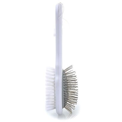 Millers Forge Presents Professional Combination Brush-Mf Pro Brush Large. Reverse Side Bristle Brush for Pets that Feature a Finger Notched Premium Handle and Safety Ball Tip Side for Initial Brushing. Nylon Side for Finishing. Small [21419]