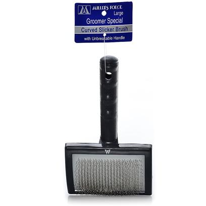 Millers Forge Presents Professional Curved Slicker Brush-Large Mf Brush Large. Millers Forge Curved Slicker Brush is a Longtime Favorite of Groomers. It Effectively Removes Mats, Loose Hair, and Debris from Coats. High Quality, Lightweight, and Plastic Handles are Virtually Indestructible. Contoured for Comfort. The Fine Stainless Steel Pins Glides Easily through Coat and are Gentle for all Types of Skin, Especially Sensitive Skin. Large [21420]