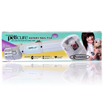 Safari Presents Peticure Rotary Nail Filer Petite. Peticure Features a Built-in Nail Stabilizer so your Pet Won't Shake During Trimming. Peticure is the Quick, Easy, and Painless Way to Keep your Pet's Nails Trim and Clean. Unlike the Traditional Pet Nail Trimmer. Safe Guard Features 6 Holes Sizes that Prevent Accidental Hair Winding. Variable Speed, Cordless, Rechargeable 3.6 Volts Battery. For Small Pets. [21438]