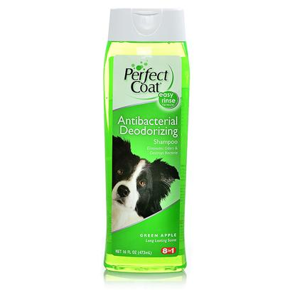 8 in 1 Presents Perfect Coat Select Antibacterial Shmp Green Apple 16oz 8in1 Antibct Grnaple. Deodorizes and Destroys Bacteria that can Cause Pet Odors. With Triclosan and Natural Botanical Oils. Long Lasting Green Apple Fragrance. [21488]