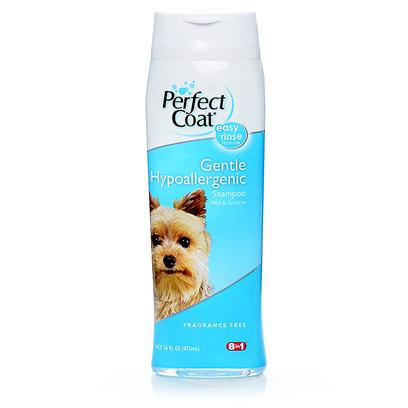 8 in 1 Presents Perfect Coat Hypoallergenic Shampoo 16oz. Very Mild Formula Ideal for Dogs with Sensitive Skin. Gentle Ingredients Cleanse and Condition. No Dyes or Fragrances. [21498]