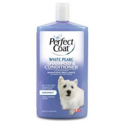 8 in 1 Presents Perfect Coat-White Pearl Shampoo and Conditioner for Dogs 8-in-1 Shampoo-White 32oz. Specially Formulated with Pearlescent Whiteners and Gentle Aloe Vera to Bring White and Cream Colored Dog Coats to their Sparkling, Brilliant Best. Over Time, Dogs with White or Light Colored Coats can Look Drab, Dull or Discolored. White Pearl Dog Shampoo Uses Special Whiteners and Coat Brighteners to Return these Dogs to Dazzling Brightness. Contains Aloe Vera and Rich Conditioners to Keep Dog Skin Healthy and Dog Coats Silky and Manageable, with a Clean, Fresh Fragrance. 32 Oz [21507]