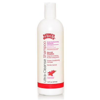 Nature's Miracle Presents Nature's Miracle Coat Enhancing Shampoo 16oz. Nature's Miracle Ultra-Cleanse Shampoo Coat Enhancing Formula Helps Bring out your Dogs Brilliance and Shine, while Keeping it Rich and Moisturized. Our Pro-Lift Enzyme Action is Derived from Nature's Miracle Advanced Stain &amp; Odor Technology. Provides Unique Odor &amp; Dirt Lifting Action. Features Helps Maintain Richness &amp; Shine  Pro-Lift Enzyme Action  Deep Dirt Grabbing &amp; Odor Lifting Action  Protein Conditioning Complex  Dander Control 16 Oz Honeysuckle &amp; Jojoba Scent [21523]