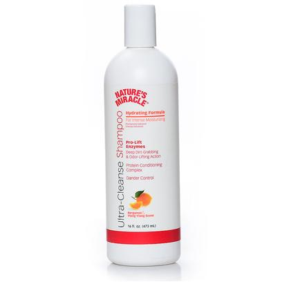 Nature's Miracle Presents Nature's Miracle Hydrating Shampoo 16oz. Nature's Miracle Ultra-Cleanse Shampoo Hydrating Formula is Ideal for Dogs that Require Intense Moisture Due to Dry Skin Problems. Our Pro-Lift Enzyme Action is Derived from Nature's Miracle Advanced Stain &amp; Odor Technology. Provides Unique Odor &amp; Dirt Lifting Action. Features for Intense Moisturizing  Pro-Lift Enzyme Action  Deep Dirt Grabbing &amp; Odor Lifting Action  Protein Conditioning Complex  Dander Control 16 Oz Bergamot &amp; Ylang Scent [21525]