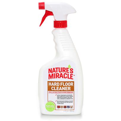 Nature's Miracle Presents Nature's Miracle Dual Action Hard Floor Stian &amp; Odor Remover 24oz. Safely Removes New and Deep-Set Stains &amp; Odors from Sealed Wood, Ceramic Tiles, Vinyl, Linoleum, Brick and Grout. Finish-Protect Enzyme Formula Cleans while Protecting the Natural Floor Coating - does not Strip Floor Finish. Designed to Clean Urine, Fecal Matter, Grease, Oil, Fats, Soap Scum and all Other Organic Stains on Contact. Bio-Enzymatic Cleaning Agents Penetrate into Grout, Cracks and Crevasses Allowing Deep Cleaning  with &quot;Odor-Lock&quot; Technology Seeks out, Traps &amp; Breaks Down Odor Molecules for Permanent Odor Removal. No Need to Rinse with Water After Use. [21566]