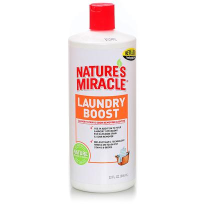 Nature's Miracle Presents Nature's Miracle Laundry Boost-Stain &amp; Odor Additive 32oz. Specially Formulated with Powerful Stain and Odor Fighting Bio-Enzymatic Cleaning Agents which Penetrate, Loosen and Eliminate the Toughest Pet Stains, Odors and Allergens the Ideal Additive to Use with your Favorite Laundry Detergent for Superior Stain and Odor Removing while Whitening and Brightening your Clothes Perfect for Use on Clothing, Pet Beds, and More [21569]