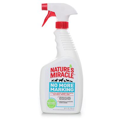 Nature's Miracle Presents Nature's Miracle-no More Marking - Oz 24oz Spray. Stain &amp; Odor Removing Formula Permanently Eliminates all Stains &amp; Odors  all Natural Pet Repellents Prevent Pets from Visiting the Same Spot Twice  Cinnamon Oil and Lemon Grass Oil Used to Naturally Repel Dogs without Irritating their Sensitive Senses Formulated with only Epa Exempt Ingredients also Available in 24oz Trigger Spray [21571]