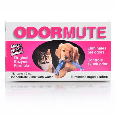Ryter Corporation Presents Odormute 3oz. Eliminates Organic Odors in Minutes! Natural Enzymes Chemically Change the Source of the Odor to Eliminate it, not Simply Mask It. Use Odormute for Pet Odors Such as Dog and Cat Urine on Carpets, Walls and Fabrics. Body Odors on Pets. Skunk Odor on Pets and Clothing. Great for Kennels, Yards, Runs, Catteries, Animal Shelters and Hospitals. [21581]