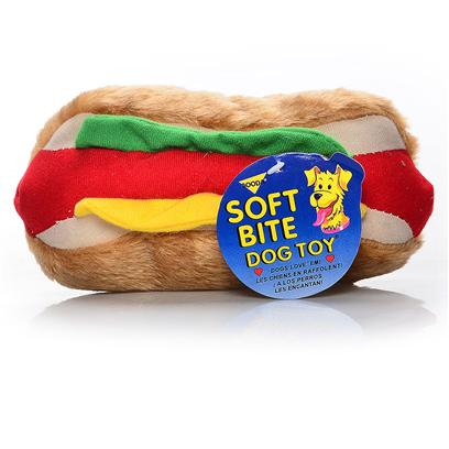 Petmate Presents Plush Soft Bite Sausage Dog Toy Booda. Soft to Bite, yet Tough and Durable Made from Washable, Synthetic Fabrics Each Design Features Bright Individual Colors [21612]