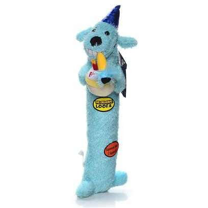 Multipet Presents Multipet Loofa Birthday Cake Asst 12' Assorted-12'. Plush Elongated Toy with Squeakers [21613]