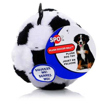Ethical Presents Plush Sport Ball-Soccer Ball Spot Soccer 4.5'. Plush Soccer Ball Soft Plush Sport Balls, Great Fun Colors, Realistic Looking, Squeakers Too! [21648]