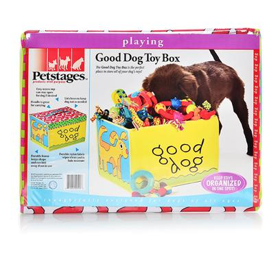 Petstages Presents Petstages Good Dog Toy Box. The Good Dog Toy Box is the Perfect Place to Store your Dog's Toys! Keeps Toys Organized and in One Spot! Durable Frame Keeps Shape and can Fold Away if not in Use, Top can be Closed as Needed, Easy Access Top can Stay Open for Dog if Desired, Handle is Great for Carrying Master Pack 6 Pak Pdq Inner Pack (Inner) 1 in Poly Bag [21685]
