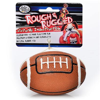 Four Paws Presents Rough &amp; Rugged Rubber Football with Bell Fp Toy Rgh Rgd Ftbl 4'. The Four Paws Rough &amp; Rugged Toys are Made with the Highest Grade of Rubber and Filled with Unique Polymers to Give Extra Bounce. Virtually Indestructible. All Toys Available Pre Assorted in Three Colors Including Red, Blue and Marble. Newly Designed Toys with Bells for Quality and Safety. [21696]