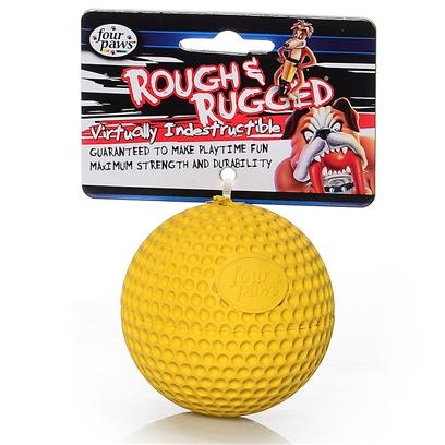 "Four Paws Presents Rough & Rugged Rubber Golfball with Bell Fp Toy. Part of a Complete Line of Unique and Traditional Style Toys Made with the Highest Grade of Rubber and Filled with Unique Polymers to Give Extra Bounce. 2.75"" [21707]"