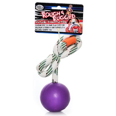 Four Paws Presents Rough &amp; Rugged Rubber Rope Ball Fp Toy 2.5'. Part of a Complete Line of Unique and Traditional Style Toys Made with the Highest Grade of Rubber and Filled with Unique Polymers to Give Extra Bounce. Available in 3 Sizes. 2 3/4&quot; [21720]