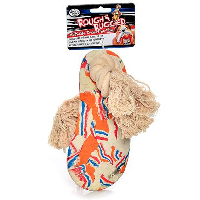 Four Paws Presents Rough &amp; Rugged Rubber Sandal with Rope Fp Toy Large (Lg). Part of a Complete Line of Unique and Traditional Style Toys Made with the Highest Grade of Rubber and Filled with Unique Polymers to Give Extra Bounce. Small [21722]