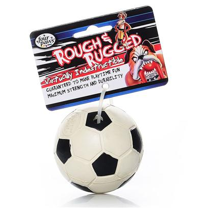 Four Paws Presents Rough &amp; Rugged Rubber Soccerball with Bell Fp Toy Socrball. The Four Paws Rough and Rugged Sports Ball with Bell are also Comprised of Natural Rubber for Added Bounce and Durability. This Style of Ball has Long been One of our Most Popular- Dogs Love the Jingling Bell Sound as they Play. The Sports Ball are Available in the World's Four Most Popular Sports Themes. Four Paws is Going &quot;Green&quot;! All of the Four Paws Rough and Rugged Packaging will be Reduced and Minimized in our Effort to Shrink Waste and to Help Reduce our Consumption of our Earth's Natural Resources. [21723]