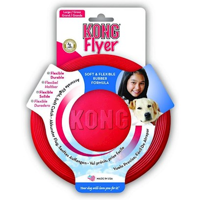 Kong Company Presents Puppy Kong Flyer Kp15. Puppy Flyer is Perfectly Sized for a Puppy and Made with Kong's Special Teething Rubber Formula for a Soft Catch. Safety, Flexibility and Durability Make the Puppy Kong Flyer the World's Best Rubber Flying Disc. Great Exercise for you and your Puppy. [21739]