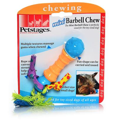 Petstages Presents Petstages Mini Barbell Chew. The Mini Barbell Chew is Perfectly Sized for the Toy Sized Dog! Multiple Textures Massage Gums when Chewed, Fun Shape can be Carried and Tossed, Canvass Streamers Help Remove Soft Tartar, Perfect Size for Mini Dogs! Master Pack 48 Inner Pack (Inner) 3 in Poly Bag [21763]