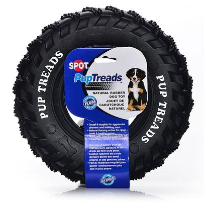 Ethical Presents Pup Treads Recycled Rubber Tire Toy 8' Spot. Tough & Durable for Aggressive Chewers and Teething Pups, Natural Flossing Action for Clean Teeth and Healthy Gums, Made with Recycled Materials for a Healthier Cleaner Environment. [21780]