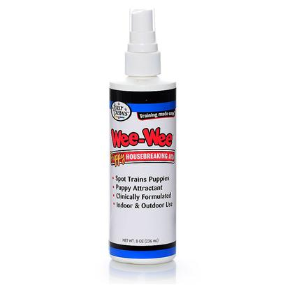 Four Paws Presents Four Paws Puppy Housebreaking Aid 8oz. Four Paws Puppy Housebreaking Aid is Specially Formulated Help Spot Train a Puppy by Encouraging Him/her to Eliminate in a Place Selected by You. 8 Oz Pump Spray 8 Oz. Spray [21802]
