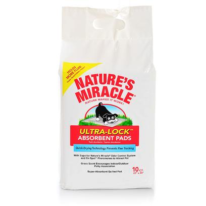 Nature's Miracle Presents Nature's Miracle Absorbent Pads 1 Pack of 50pcs. Ultra Lock Absorbent Pads Absorb over 450 Grams of Fluid  Quick Dry Top Draws in Fluids Quickly into Pad  Prefabricated &quot;Core&quot; Enables Pads to Absorb 100% More Fluids than Traditional Training Pads  Virgin Plastic Bottom Provides Superior Leak Protection Grass Scent - Recommended by Vets to Help Dogs Associate &quot;Go here&quot; with the Outside also Available in 10 Count Bag &amp; 100 Count Box 50 Count Bag [21809]