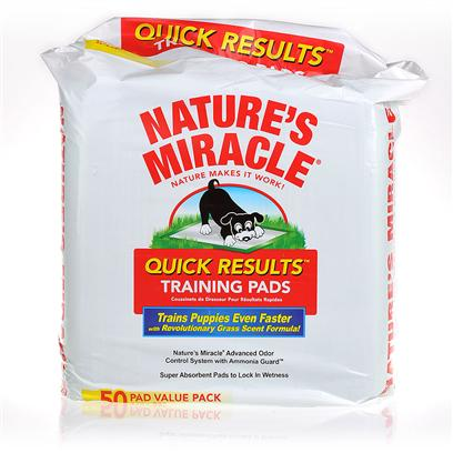 Nature's Miracle Presents Nature's Miracle Quick Results Training Pads 50 Count. Housebreaking Dogs is a Process that Requires Time, Patience and Persistence. Nature's Miracle Quick Results Training Pads Accelerate and Simplify this Process. These Pads Consist of Multiple Layers of Highly Absorbent Polymers that Absorb 100 Times their Volume in Liquid, with Leak-Proof Edges that Contain the Liquid. Nature's Miracle Odor Control System with Ammonia Guard Eliminates Odors while your Dogs are Trained. The Top Layer is a Thick, Scratch and Tear-Resistant Surface with a Grass Scent that Promotes your Dogs Association with the Outdoors. Placing your Dogs on the Pads will Allow them to Become Accustomed to the Grass Scent and Progressively Moving the Pads Outside will Gradually Teach them to Go Outdoors. Features · these Training Pads Contain Pheromones that Provide a Special Scent that Attracts Dogs to these Pads. [21813]