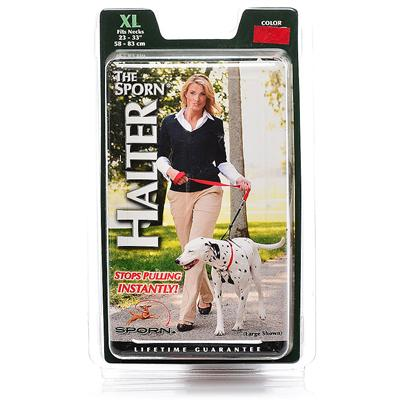 Sporn Pet Presents Sporn no Pull Halter-X-Large Xlarge. Patented Sporn Halter Stops Dog Pulling Instantly.The Sporn Pull-Control™ Patented Design Redirects the Leash Tension to the Area Behind the Dog's Front Legs, a Sensitive Area where the Slight Pressure Applied by the Pull-Control™ Restraints will Stop the Dog from Pulling without Discomfort. The Sporn Training™ Halter is Made of the Highest Quality Braided Cord and Nylon Webbing with Thermoplastic and Nickel-Plated Steel Fasteners. The Restraints are Threaded through the Fabric Sherpa Sleeves for Dog's Maximum Comfort. Available in Different Sizes and Colors. [21837]
