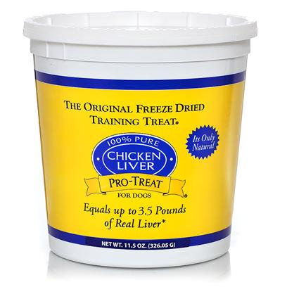 Gimborn Presents Pro-Treat 100% Pure Freeze Dried Chicken Liver Treats for Dogs 11.5oz. The Perfect Training Treat Cut into Bite-Size Pieces that are Perfect for Training, these 100% Natural Chicken Liver Treats are Freeze Dried to Maintain Freshness without the Use of Preservatives. Pro-TreatS Healthy, High-Protein Snacks Retain the Flavor and Aroma of Raw Chicken Liver, so Dogs will be on their Best Behavior to Ensure Another Delicious Bite. [21852]