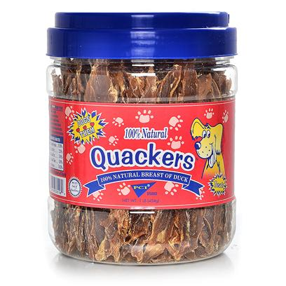 Pet Center Inc. Presents Quackers Pci 1lb Canister. Quackers are Made from 100% Natural Breast of Duck. They are Actual Slices of Duck Breast that are Slow Roasted in their Own Juices to Lock in the Flavor. Duck has a Strong and Very Distinct Flavor that Dogs Go Crazy Over! Comes in a 8 Oz Bag with Colorful Header Card. [21893]