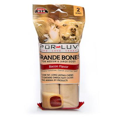Pur Luv Presents Purple Luv Grande Bones 2pk 7oz Pl Prlv Grd Pbtr. Show how Much you Luv your Pet by Giving them Pur Luv Grande Bones. These are Long-Lasting, Tasty, Nutritious Treats that your Dog will Absolutely Luv. They are Low in Fat and Contain Omega Fatty Acids with Peanuts, Honey and Flax Seed Ingredients. They are a Perfect Size for Medium and Large Dogs and they Help to Clean their Teeth. 2 Ct 7 Oz [21899]