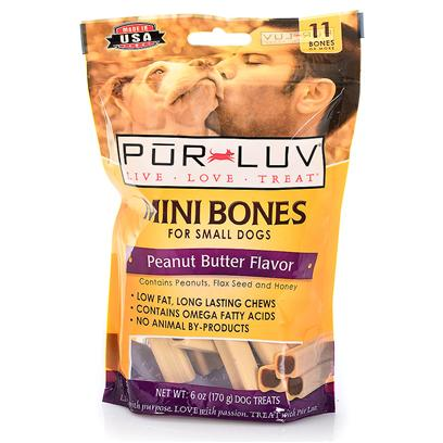 Pur Luv Presents Purple Luv Mini Bones Peanut Butter Pl Prlv Bns Pbtr 11ct 6oz. Show how Much you Luv your Pet by Giving them Pur Luv Grande Bones. These are Long-Lasting, Tasty, Nutritious Treats that your Dog will Absolutely Luv. They are Low in Fat and Contain Omega Fatty Acids with Peanuts, Honey and Flax Seed Ingredients. They are a Perfect Size for Small Dogs and they Help to Clean their Teeth. 60 Ct 32 Oz [21904]