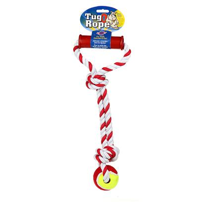 Blue Ribbon Presents Rope Handle Tug with Tennis Ball 15' Br. What is the Meaning of this Contraption? Who is this Device For? At First Glance it's Almost an Inverted Stirrup Attached to a Tennis Ball. Maybe it's an Instrument Intended for some Kind of Scrimpy Flagellation of Failed Tennis Players, but I Doubt It. Something with a Design this Ambitious and Foolhardy Could only have been Created to Bring Humans and Dogs Closer Together. While the Handle Helps you Believe you have some Control over what Happens when your Dogs Get a Hold of Blue Ribbon's Rope Handle Tug with Tennis Ball, you and your Dogs will Decide who Ultimately has Control. Like Most Woven Rope Toys, Using this Product will Improve the Dental Health of your Dog. It Might Take an Onlooker a Minute to Figure out what you and your Dogs are Playing with, but it should only have Taken you a Second to see that Blue Ribbon's Rope Handle Tug with Tennis Ball is just a Healthy, Inexpensive Fun. [21944]