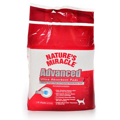 Nature's Miracle Presents Natures Miracle Advanced Ultra Absorb Pads 50 Count. Introducing the Most Absorbent Pads in the Market Today Ideal for Larger Dog & Extended Alone Time • Holds 6 Cups of Fluid! Mega Absorbent Polymers Allow Extreme Fluid Absorption • Extra Large Quilted Pads with Superior Nature's Miracle Odor Control Technology • Quick-Dry Technology Prevents Wet Paw Tracking • Treated with on-Spot™ Pheromones to Attract Pet also Available in 10 and 30 Count 50 Count Bag [21961]