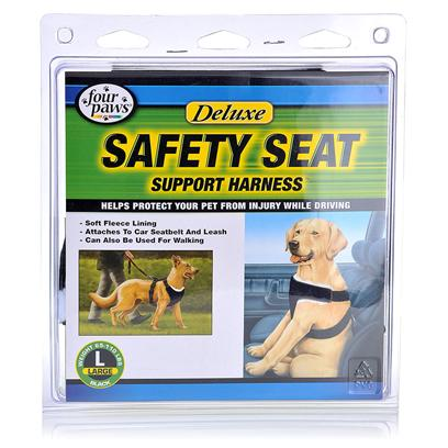 Four Paws Presents Four Paws Safety Seat Support Harness Medium (for Pets 30-65lbs). The Safety Seat Support Harness was Designed for the Comfort and the Safety of your Pets while Riding in Vehicles. This Durable Harness is Lined with Fleece for Maximum Comfort and Attaches Easily to any Car Seat Belt or Leash. Simply Unbuckle the Seatbelt and Attach a Leash when your Destination is Reached. The Control of your Pet while you Drive with this Harness not only Prevents Injury to your Pet but also Prevents Distraction in a Moving Vechicle. X-Small - (for Pets under 15 Lbs) Small - (for Pets 15 - 30 Lbs) Medium - (for Pets 30 - 65 Lbs) Large - (for Pets 65 - 110 Lbs) [22008]