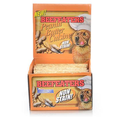 "Beefeaters Presents Peanut Butter Stix Beef 3/4x5' 52bx. ""These Extruded Rawhide Stix are Made Using our Exclusive, Non-Stain Process from the Highest Quality Rawhide Available. Has Chunks of Peanut Butter on the Bone. Helps Reduce Tartar & Massages Gums. "" [22025]"