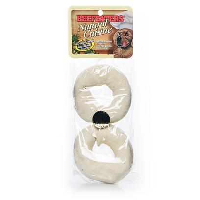 "Beefeaters Presents Natural Donut-3 1/2' 2 Pack. ""Made from 100% Highest Quality Natural Rawhide Available. No Artificial Preservatives, Colors, or Flavors Added. Helps Reduce Tartar & Massages Gums."" [22053]"