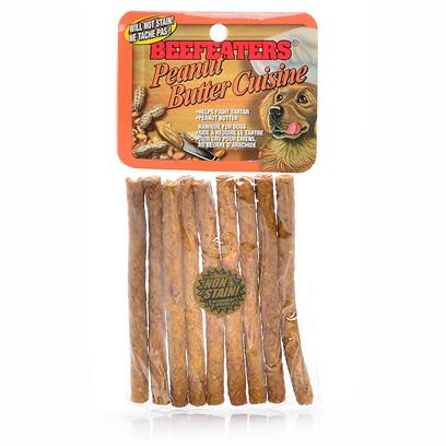 "Beefeaters Presents Peanut Butter Beef Stix 5' 9pk. ""Made Using our Exclusive, Non-Stain Process from the Highest Quality Rawhide Available. Helps Reduce Tartar & Massages Gums. "" [22055]"