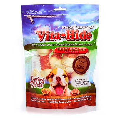 Loving Pets Presents Rawhide Vita Hide Heart with Chicken Pack Lv Rh Chx 6-7' 4pk. Nutrient Enriched 100% Pure Chicken Breast Wrapped Around Natural Rawhide. Heart Formula is Fortified with L-Carnitine, Taurine and Vitamins C & E to Promote Heart Health. Joint Formula Contains Glucosamine and Chondroitin to Promote Joint Health. [22258]