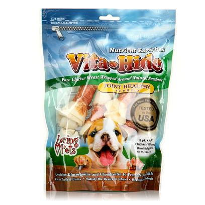 Loving Pets Presents Rawhide Vita Hide Joint with Chicken Pack Lv Rh Chx 6-7' 4pk. Nutrient Enriched 100% Pure Chicken Breast Wrapped Around Natural Rawhide. Heart Formula is Fortified with L-Carnitine, Taurine and Vitamins C & E to Promote Heart Health. Joint Formula Contains Glucosamine and Chondroitin to Promote Joint Health. [22261]