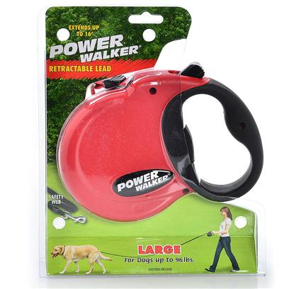 Coastal Presents Power Walker Retractable Lead-16 Feet Medium-Red. - Available Colors = Black, Blue &amp; Red _ Designed for Safety, the Power Walker Features an all Web Lead. - &quot;Lead&quot; Extends 16' in Length [22283]