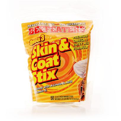Beefeaters Presents Omega 3 Skin &amp; Coat Stix-Beef 50 Pack. We Love our Dogs. We Love to Cuddle them and Nuzzle Them. What we don't Love is their Breath! While Nothing can Replace a Good Tooth-Brushing Now and again, Beefeaters Dental Stix are the Perfect Treats to Complement a Dog's Regular Dental Routine. They are all Natural Rawhide Chews Made with Mint, Fluoride and Parsley Seed. The Hard Texture of the Chew is Beneficial in Reducing Plaque and Tartar Build-Up, while Fluoride is Proven to Aid in the Prevention of Cavities. Mint and Parsley Seed Minimize Odors in the Digestive System, which Helps Eliminate Bad Breath. [22301]