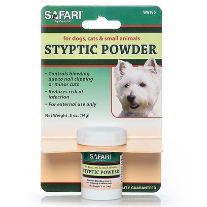 Safari Presents Safari Styptic Powder 1/2oz Bottle (Carded). Safari Stypic Power Quickly Stops Bleeding Caused by Clipping Nails and from Minor Cuts and Reduces the Risk of Infection. Perfect for Dogs, Cats & Small Animals, Safari Styptic Powder is Packaged in a .5 Oz Resealable Jar. [22328]