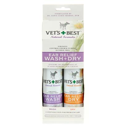 Bramton Company Presents Vet's Best Ear Relief-Wash and Dry Vets Relief Wash 2pk. Vets Best Ear Relief is an all Natural, Non Stinging, Alcohol Free, Ear Cleansing 2 Pack. The Ear Relief Wash is Applied First to the Dog'S Ear Canal. The Solution Works Well to Stop Itchy, Smelly, or Swollen Inner Ears by Removing Waxy Buildup. Follow the Wash Up with Ear Relief Dry, also Applied to the Opening of the Ear Canal. Ear Relief Dry Comes out of the Bottle as a Liquid, but Quickly Dries into an Absorbent Powder to Balance Inner Ear Ph, and Keep your Dog'S Ears Dry. The Products in the 2 Pack are Meant to be Used in Tandem. They Work Especially Well for Long Eared Dogs. Vets Best Ear Relief 2 Pack may be Used as Often as Daily, or Before Swimming or Baths. Many Pet Owners have Found that Vets Best Ear Relief Served to Clear Up Problematic Ear Troubles where Other Traditional Methods Had Previously Failed. [22329]