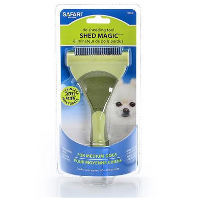 Safari Presents Safari Shed Magic Deshedder Medium (Md). Compare to Furminator Stainless Steel Blade Sure Grip Handle Small-Medium-Large Cat [22380]