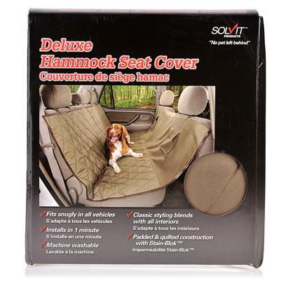 Solvit Presents Solvit Deluxe Hammock Seat Cover for Dogs 56' X 57' Long. Cozy Pet Hammock Protects your Car Trips with your Dog can be More Enjoyable with this Comfy, Stylish Hammock that Installs in the Back Seat. The Padded and Quilted Cover Provides a Soft Cushion for your Dog while Protecting Against Dirt, Dander, and Accidents with Stain-Bloktm Technology. The Hammock is also Designed to Act as a Barrier, Keeping your Dog from Climbing Up to the Front Seats. Two Storage Pockets are Perfect for Storing Treats, Toys, Waste Bags, or Anything you Need for a Fun Car Trip! Give your Dog a Comfortable Place to Travel while also Protecting your Car with this no-Hassle Hammock. [22434]
