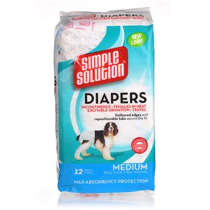 Bramton Company Presents Simple Solution Disposable Diapers Bram Disp 12pk X-Sm. Disposable Diapers from Simple Solution Offer no-Leak Protection for a Secure, Comfortable Fit. Each Diaper Absorbs Wetness and Eliminates Messes from Excitable Urination, Incontinence, Male Marking or for Puppies that are not yet Housetrained. Each Diaper Features an Adjusting Elastic Tail Hole, Re-Sealable Closures and a Comfort Leg Fit. [22446]