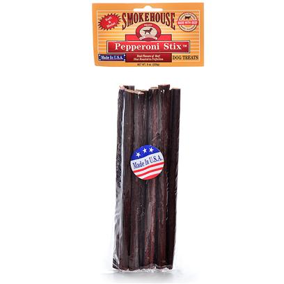 Smokehouse Presents Smokehouse 8' Pepperoni Stick 8oz Small (Sm) Stix. 8oz - Clear Vinyl Bag with Header Made from Meat by Products, Beef, Soy Flour, Molasses, Dextrose, Salt, Natural Smoke Flavor, Garlic Powder, Potassium Sorbate, Sodium Nitrite and Bha. High in Protein and Rich in Meat. Soft and Moist with a Smoky Flavor and Delicious Smell. Made in the Usa [22659]